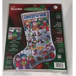 "Bucilla 18"" Snowman Stocking Counted Cross Stitch"